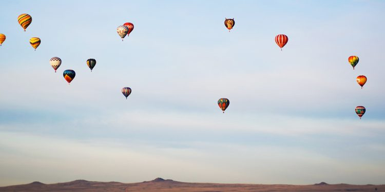 Hot air balloons over the desert
