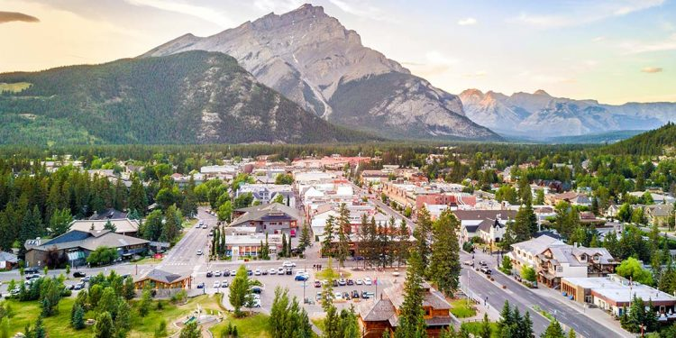 Overlooking town of Banff with mountain in background