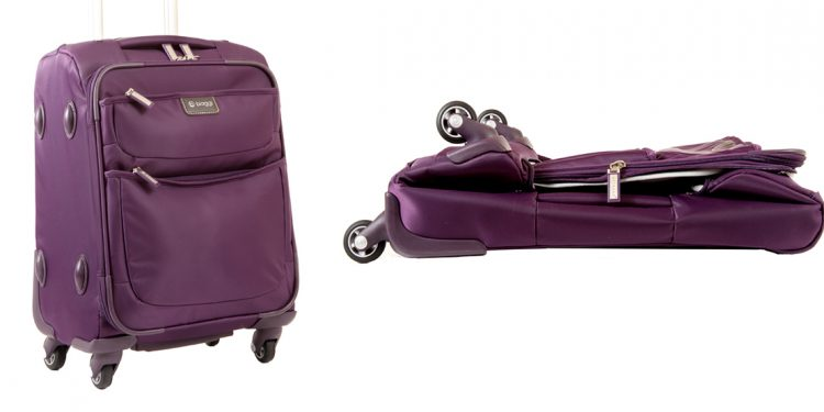 Purple suitcase that collapses.