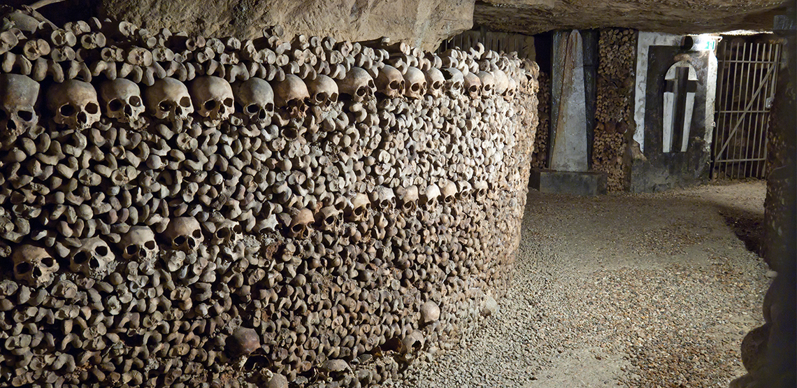 Wall of skulls and bones in Catacombs