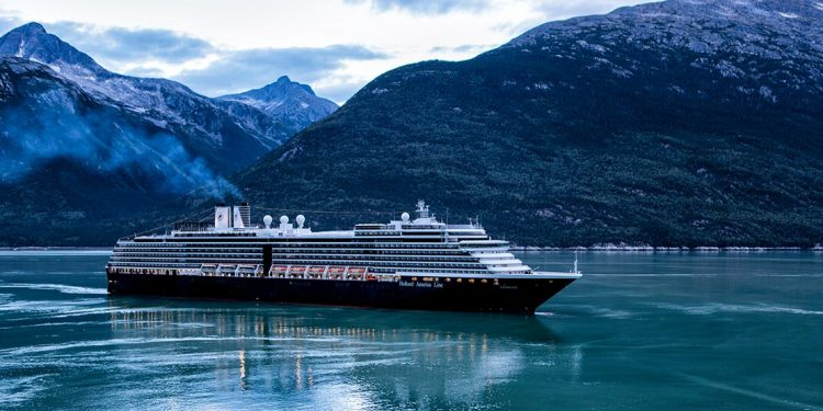 Cruise ship along coast of Alaska.