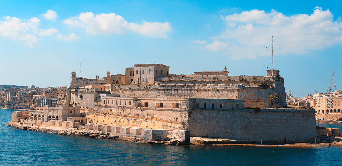 Fort Saint Elmo on the water in Malta