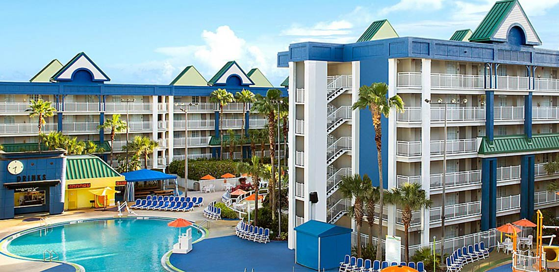 Swimming pool and deck outside Holiday Inn Resort Orlando Suites