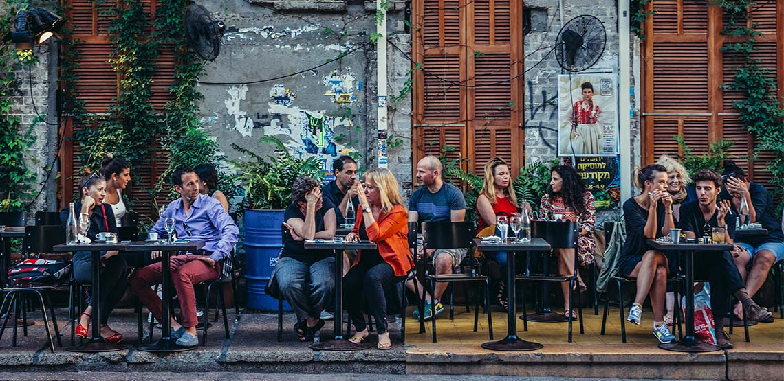 People sitting on an outdoor patio