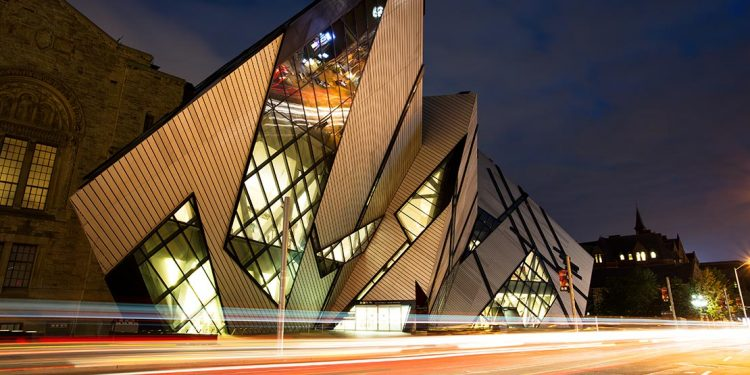 Front of the ROM, a modern looking building.