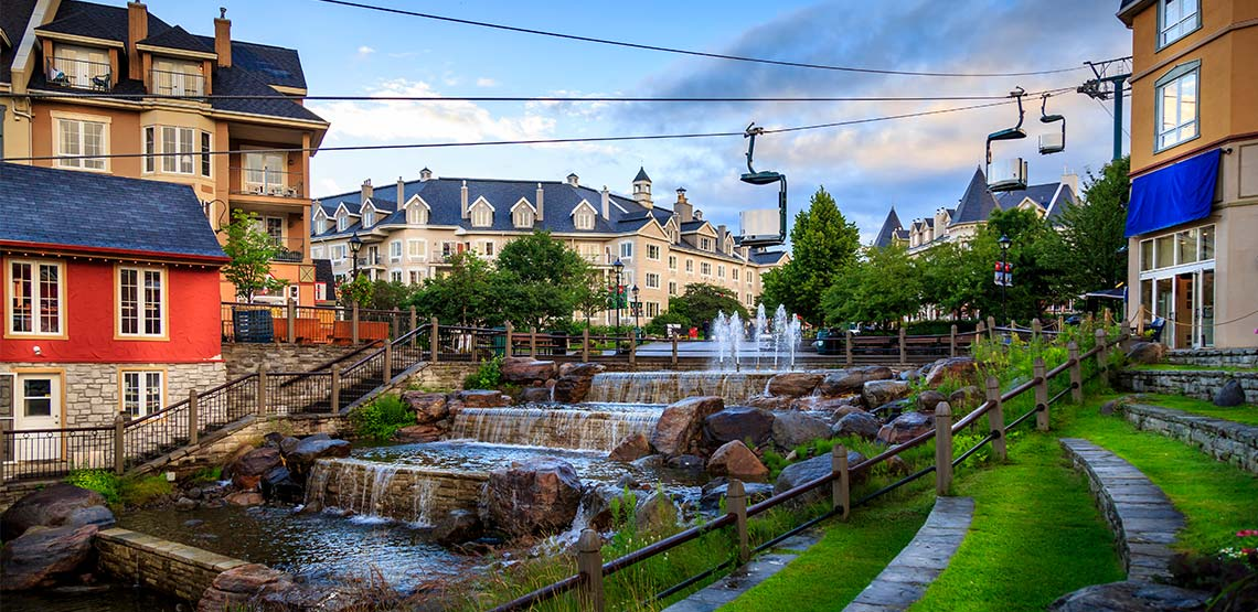 Tremblant village in the summertime