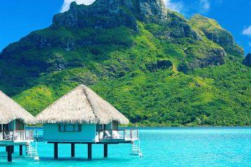 Overwater huts in Bora Bora.