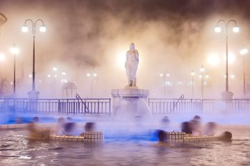 steam rising from thermal baths in Hungary