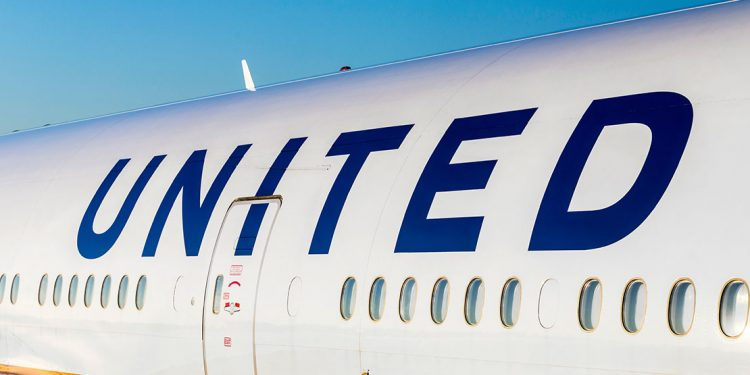 United Airlines logo on the side of a passenger plane