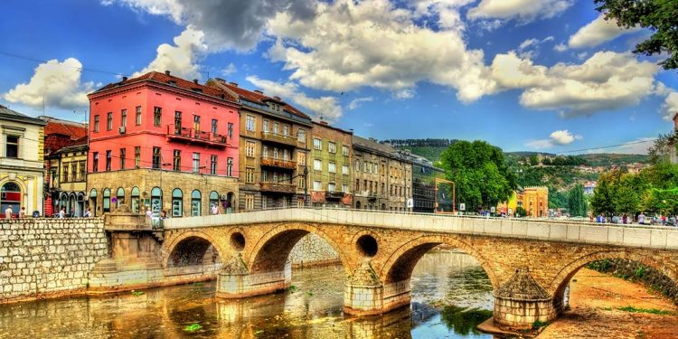 Sarajevo cityscape as seen from the canal