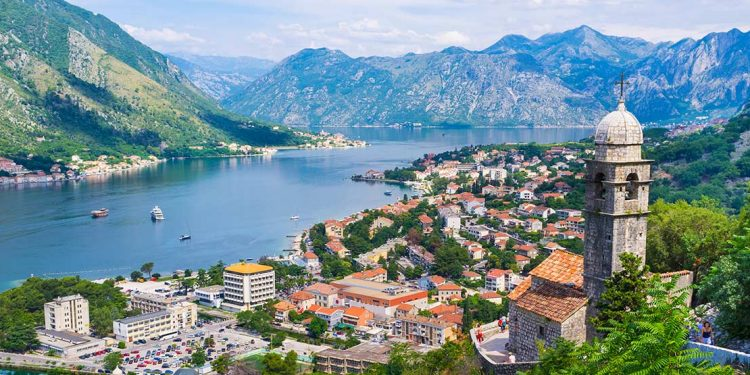 aerial view of the Bay of Kotor and surrounding mountain ranges
