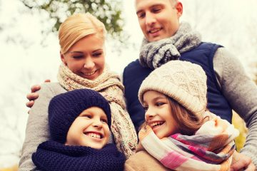 happy family bundled in knit winter accessories