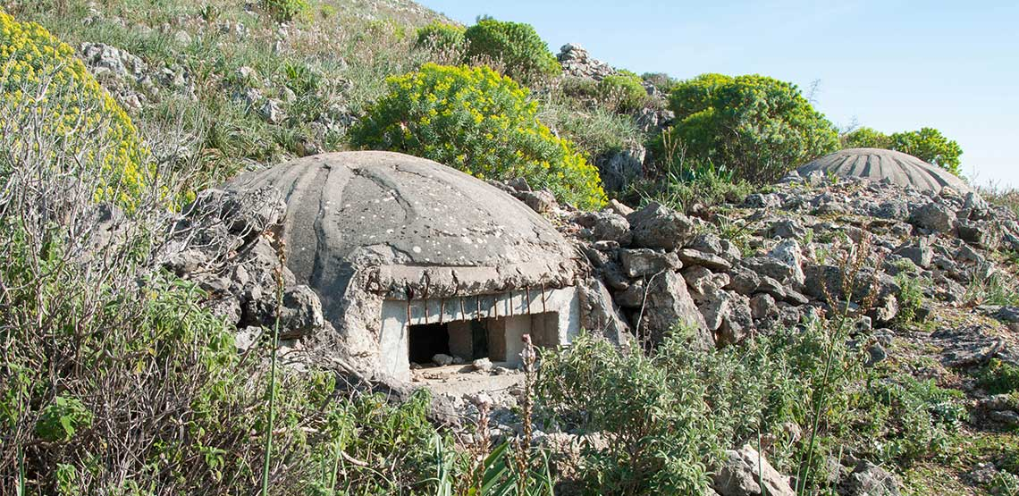 Concrete dome built into hillside surrounded by shrubbery.