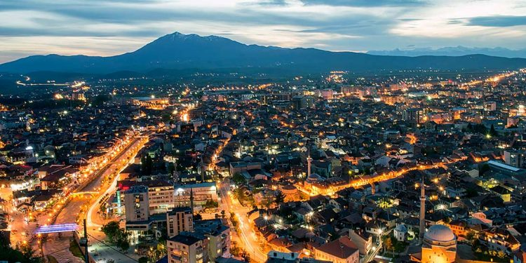 An evening cityline in one of Kosovo's towns