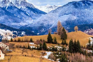 snow covered mountains of Transylvania