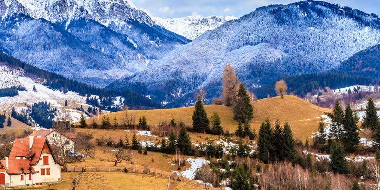 snow covered mountains of Transylvania