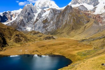 Lush valley in the mountains of Northern Peru with lake