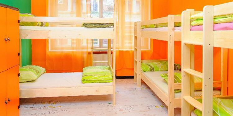 Inside a colorful room at the Old Prague Hostel