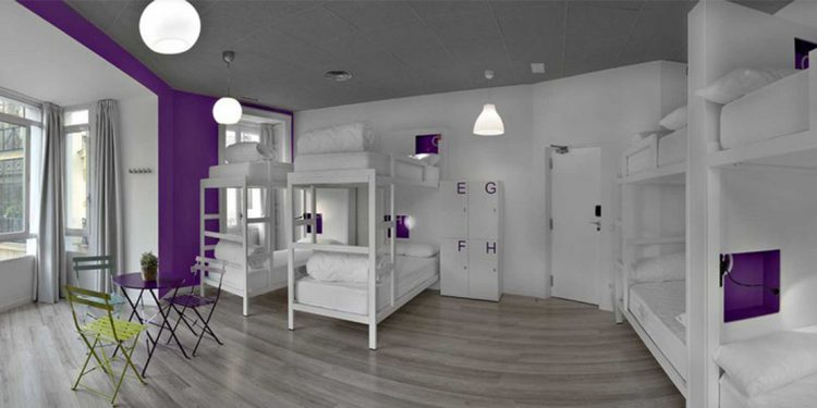 Inside A Modern U Hostel Room With Bunkbeds And Purple White Decor
