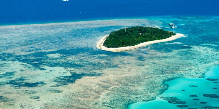 Overhead view of the Great Barrier Reef and island