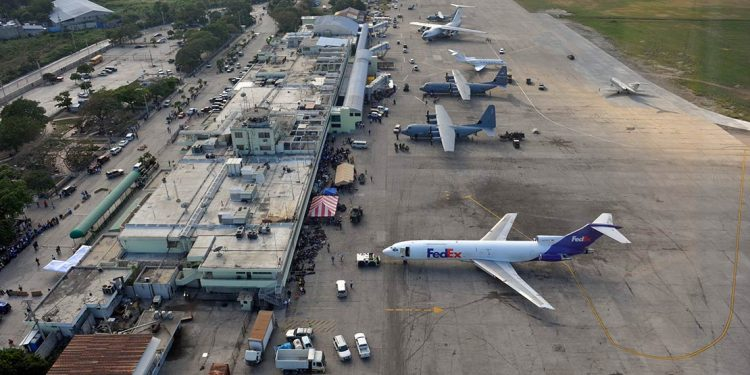 Aerial view of the Port au Prince airport