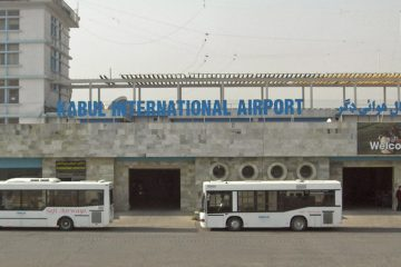Buses parked outside Kabul International Airport.