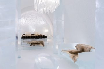 bed room of the ice hotel