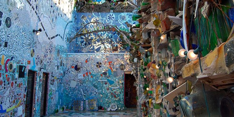 walls decorated in glass and oddities