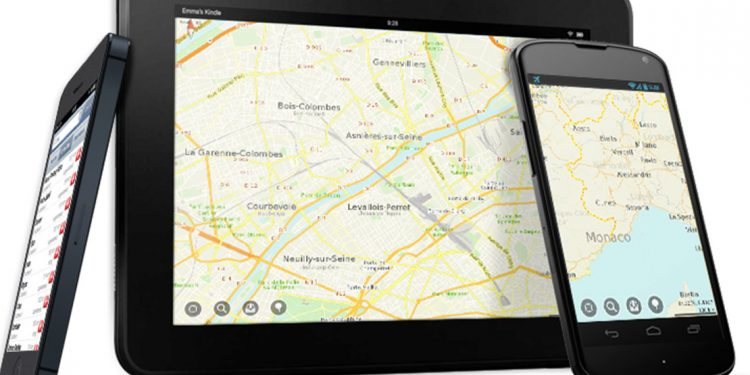 the maps me mobile app shown on several different mobile devices