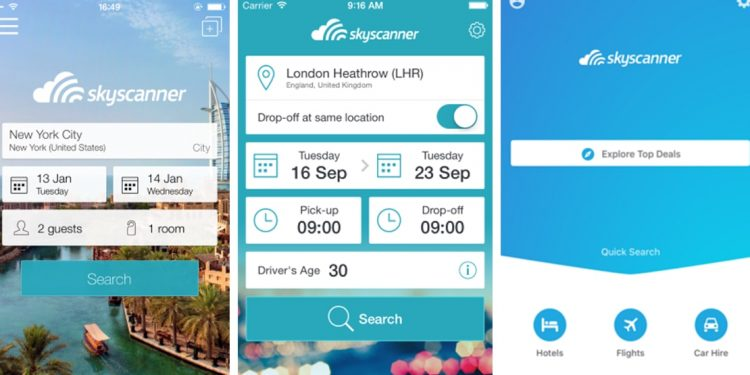 mobile screenshots from Skyscanner app