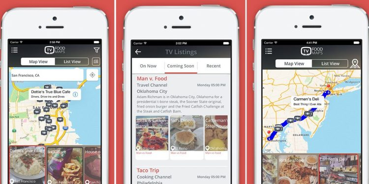 mobile screenshots from TV Food Maps app