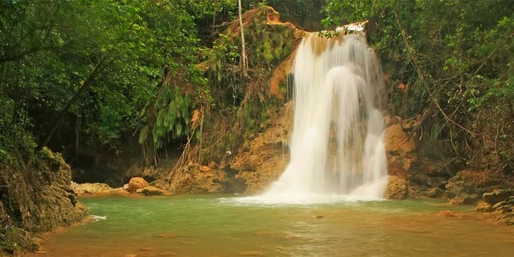 waterfall in the rainforest of las terrenas, dominican republic