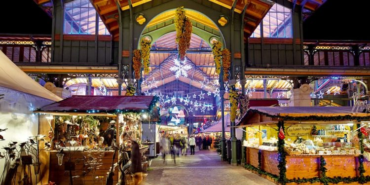 christmas market in montreux, switzerland