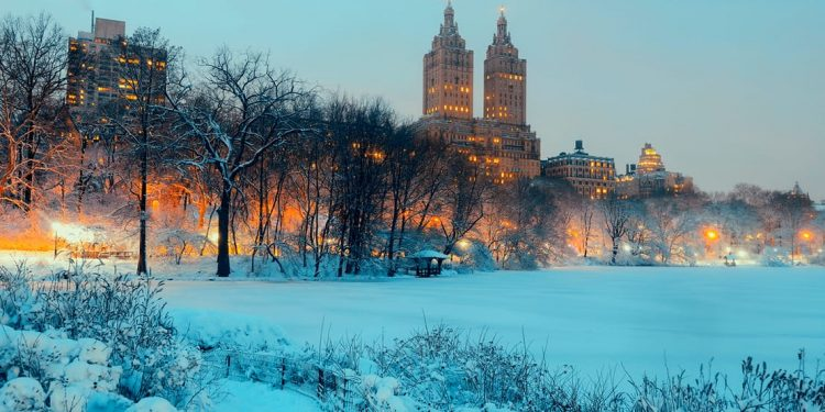 new york city in winter with snow on the ground