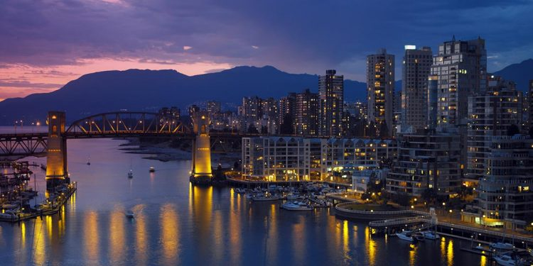 view of vancouver harborfront at night