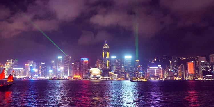 Hong Kong Christmas lights viewed over the water