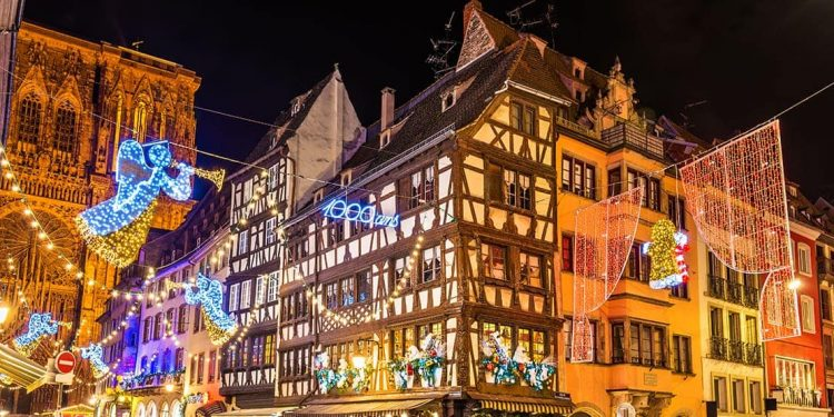 The lights at Strasbourg Christmas Markets at night