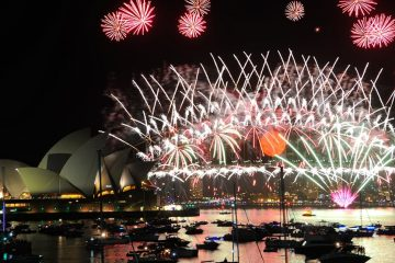 fireworks display over sydney, australia
