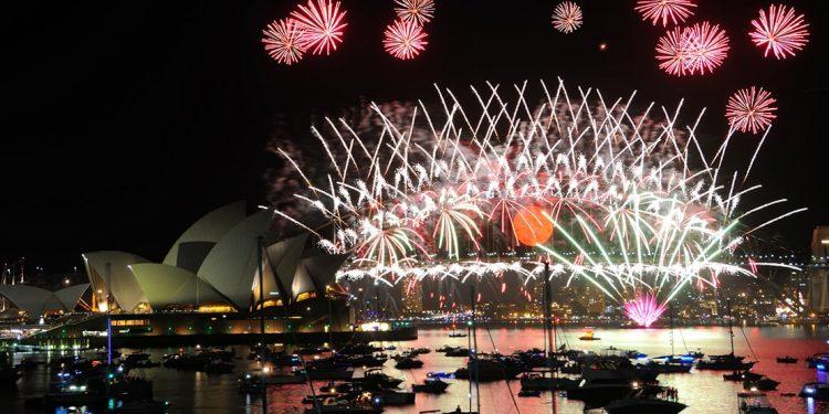 fireworks display over sydney, australia