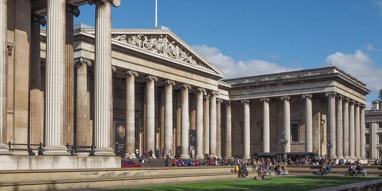 The exterior of the British Museum, a stone building with tall columns