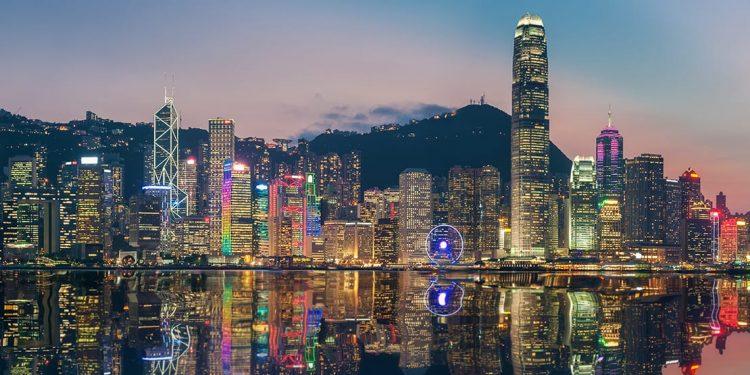 The city of Hong Kong lit up at dusk