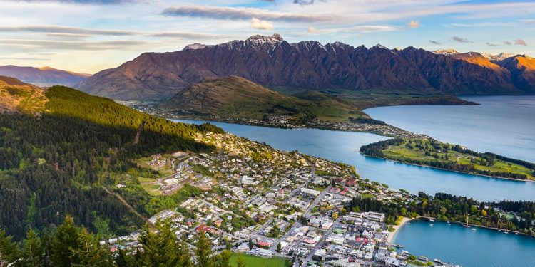 Aerial view of Queenstown on Lake Wakatipu and the mountains beyond