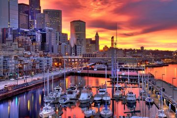 Boats in a Seattle marina at dawn