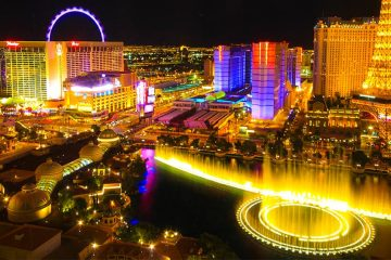 Aerial shot of Vegas lit up at night