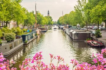 A canal in the Netherlands includes boat homes and a boat tours of the city of Amsterdam