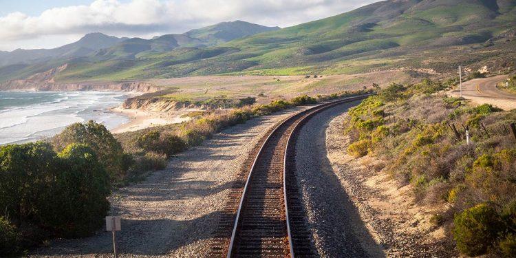 Railway track along Pacific Ocean in California