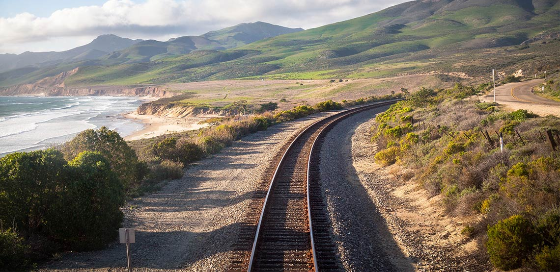 Railway track along Pacific Ocean in California