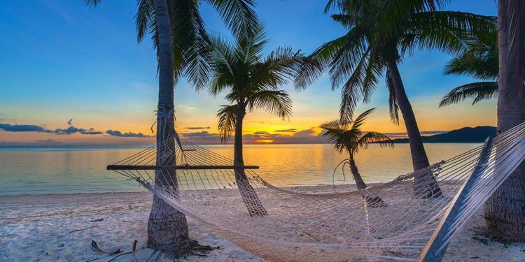 A net-style hammock is tied onto two palm trees by the beach with the sunset in the background