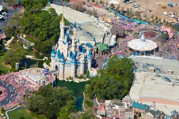 An aerial view of Walt Disney World, featuring the famous Magic Kingdom castle