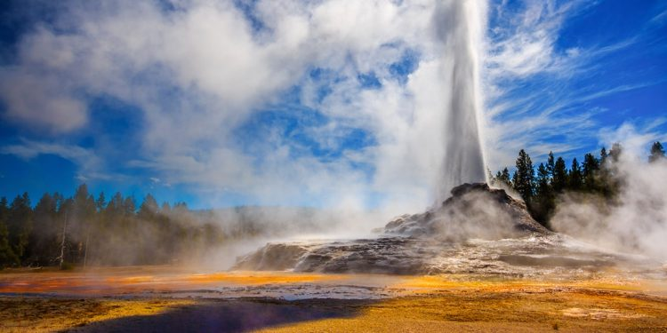 A hot geyser bursts into the air at full speed